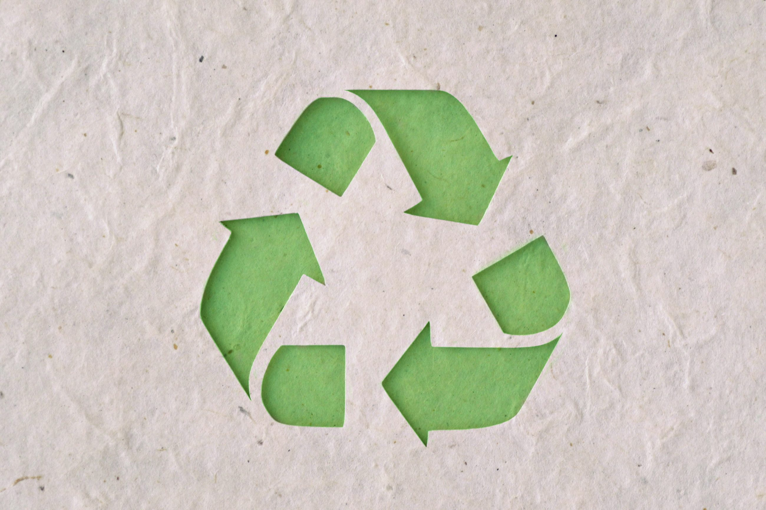 Recycling symbol on Paper